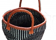 DURABLE AFRICAN BASKETS BLACK & WHITE WOVEN WITH V