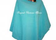 Turquoise warm Poncho with Ankara Collar